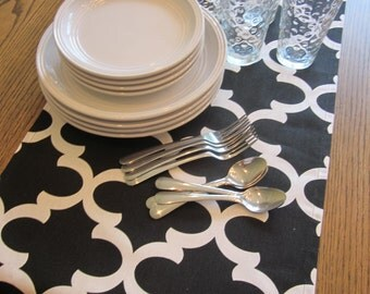 Black and White Table Runner - Weddings, Receptions, Parties, Dining Table, Buffet