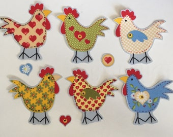 NEW! Calico Chickens - Iron On Fabric Appliques