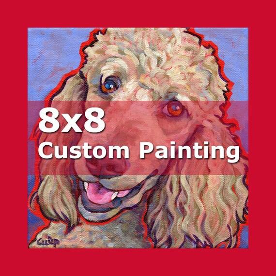 8x8 CUSTOM PAINTING Colorful Original Dog Art by Lynn Culp