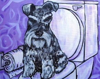 ON SALE Schnauzer in the Bathroom Dog Art Tile Coaster