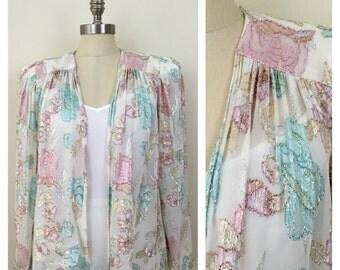 80s PATRA White Floral Lame Sheer Open Blazer, Size Medium to Large, XL