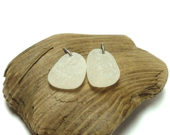 Sea Glass Pair Beach Glass Stones Pebbles Jewelry Beads Authentic Seaglass Upcycled Eco Friendly Pendant Charm Dangles SEA SALT