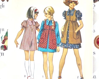 Vintage 1970s Girls Dress and Pinafore Pattern - Simplicity 5280