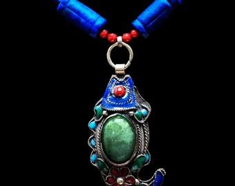 Antique Jade & Lapis Necklace - Good Fortune