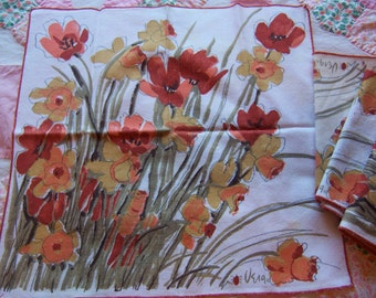 vintage vera autumn colors linen napkins