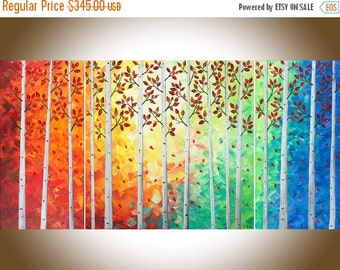 "Contemporary wall art rainbow color 48"" Large canvas art autumn birch oil painting Home decor Impasto art ""Autumn Woods"" by QIQIGallery"