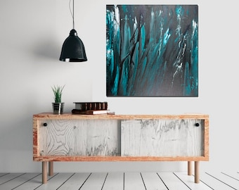 """Modern art modern abstract laegr Wall Art square art Origina artwork wall decor home decor office decor """"Go with the Flow"""" by QiQiGallery"""