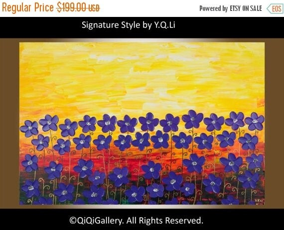 """Colorful violet flowers art Original artwork home decor wall decor wall hagings panting on canvas """"Sunset at Violet Field """"by qiqigallery"""