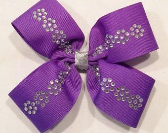Purple Hair Bows Rhinestone Bows Barrettes And Clips Girls Hair Bows Hair Accessories