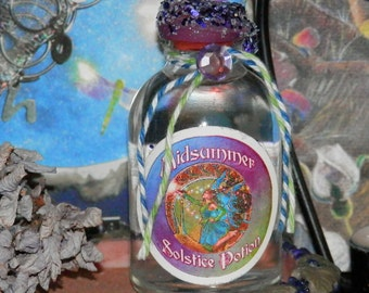 MIDSUMMER Solstice POTION Handmade NATURAL Rain Water, Fairy, Pagan, Wicca