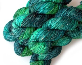 Tweedy DK Light Worsted Handdyed Yarn, Luck of the Irish, 230 yards