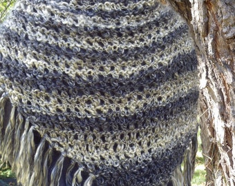 Lacy Fringed Triangular Shawl/Wrap in Tonal Stripes of Charcoal and Cream