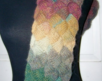 Handknit Basketweave Entrelac Scarf in Greens. Beiges. Yellows and Soft Reds