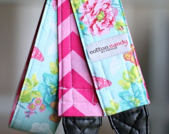 Butterfly Garden and Chevron - Reversible Camera Strap