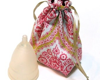 Menstrual Cup Drawstring Pouch/Cup Spot Bag - Lined - keep your cup safe and clean on the go and while traveling!