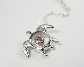 Pink Tourmaline Turtle Necklace - Gemstone Turtle Pendant - October Birthstone  Pendant Sea Turtle - Turtle Totem Sterling Silver - Sea Life