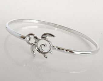Sea Turtle Hook Bracelet - Sterling Silver Sea Turtle Latching Bangle Hook Bracelet - Unique Handcrafted Turtle Jewelry - Totem Turtle