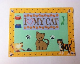 Cat Kitty Paper Piecing Title Mat Scrapbook Album Page
