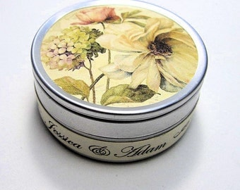 Romantic Set of 10 Wedding Favors - Wildflower Seeds - Personalized - French Floral Tin - Modern