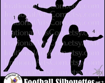 Football Silhouettes set 3 - with 3 Vector Vinyl Ready Images SVG EPS and PNG file formats Quarterback receiver {Instant Download}