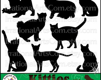 Kitties Silhouettes set 1 with 8 digital clipart graphics with adorable Cat Silhouettes PNG format {Instant Download}