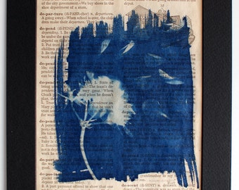 Handpainted Original Artwork Cyanotype Geranium dictionary page