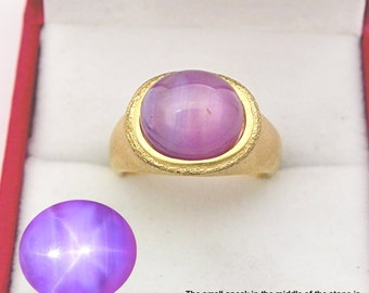 AAAA Violet Pink Star Bi Color Sapphire with color shift   11x10mm  5.10 Carats   in Ladies 18K Yellow gold cocktail ring 10 grams. 2639
