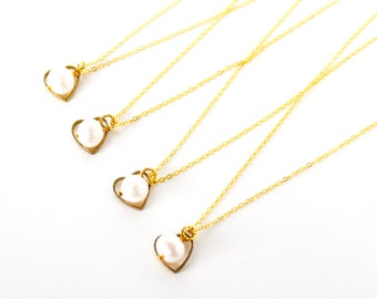 Gold love heart and white cultured pearl gold plated necklace