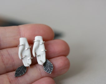 Two Hands - Porcelain and Sterling Silver Studs