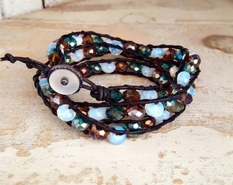 Casual Friday - Beaded Leather Triple Wrap Bracelet