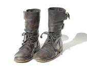 Size: 8 Black Leather Wide Ankle Strap Boots