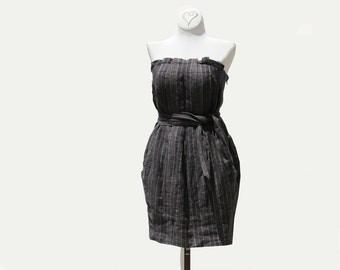 Linen Mini Dress / Stripe linen Dress