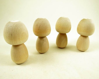 Kokeshi Dolls - Peg Dolls - Big Head Dolls - Unpainted - Unfinished Kokeshi - Ready to Paint - Wood Toy - Set of 4