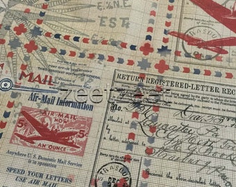 AIRMAIL CORRESPONDENCE Tan Quilt Fabric - by the Yard, Half Yard, or Fat Quarter Fq In Transit Transportation Shipping Freight Letters Stamp