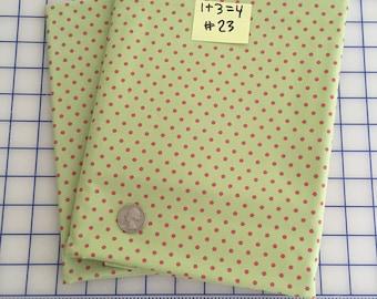 SALE by the Yard - Green Hot Pink POLKA DOT #23 Robert Kaufman Pimatex Basics Cotton Quilt Dress Fabric