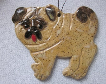 PUG Hanging Ornament Stoneware Pottery With Gift Box
