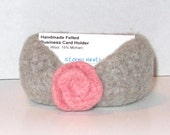 Handmade Felted Business Card Holder - Gray with Pink Felted Rose - Wool & Mohair (BC1-001)