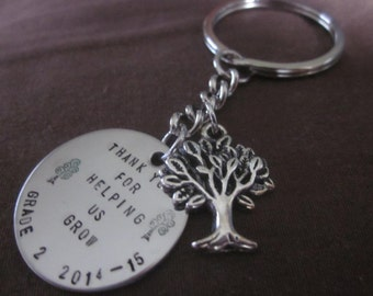 Tree Charm Thank You For Helping Me Grow Keyring Key Chain handstamped onto circle Teacher, Nanny, Day Care, Baby Sitter Gift