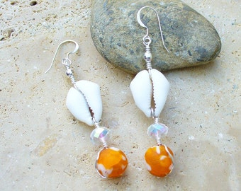 Cowrie Shell Earrings and Powder Glass African Trade Beads - Orange and White - Beautiful