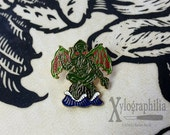 Cthulhu enameled artist lapel pin
