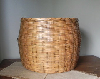 Large vintage round willow basket woven large boho woven rattan basket planter