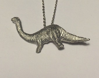 Brand New Vintage Handmade Pewter Brontosaurus  Necklace - 18""