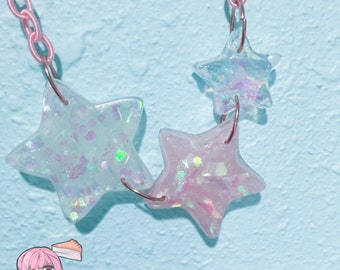 Holographic Iridescent Stars Pink Chain Necklace