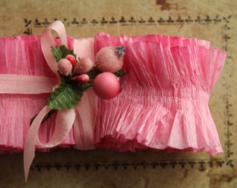 NEW! Crepe Paper Ruffles Bubble Gum Pink - 34 Inches Pastel Ruffle Trim - Hand Dyed Pink Wedding Garland - Wide Crepe Paper Ruffled Trim