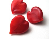 Lampwork Glass Beads, Red Heart Beads, handmade button style Valentine's Day beads from Serena Smith