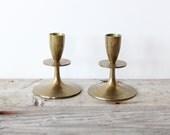 Solid Brass Tulip Base Brass Candlesticks (Set of 2)