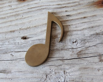 Solid Brass Music Note Paperweight