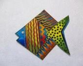 "Large Fish Iron On Fabric Applique 5"""