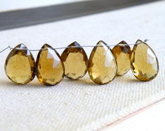 Beer Quartz Gemstone Briolette Faceted Pear Teardrop Pendant 15.5 to 16mm 6 beads