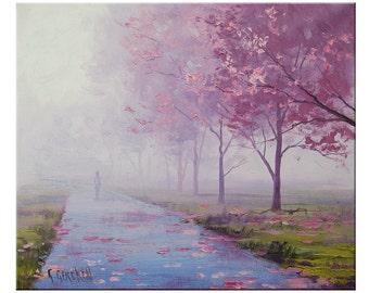 Award winning Artist Blossom Trees Painting Landscape  by G.Gercken